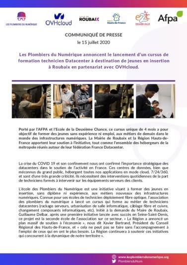 Communiqué de presse formation technicien datacenter des plombiers du numérique roubaix